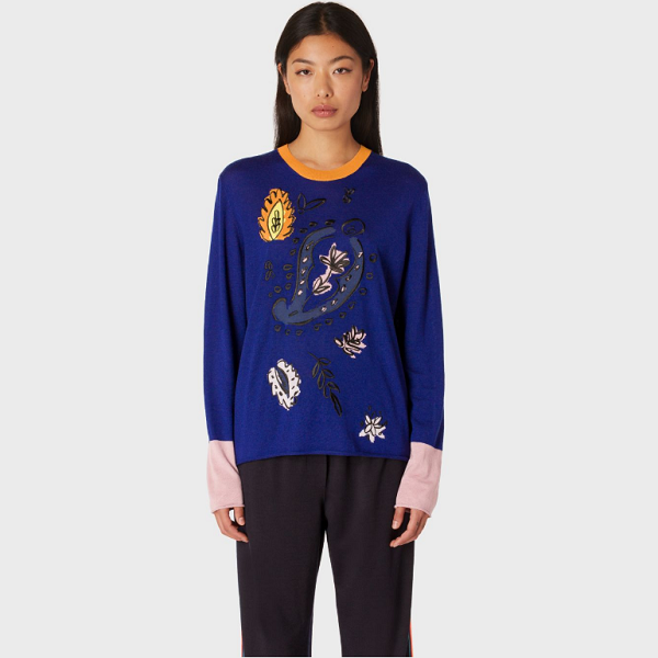 5折!Indigo Wool Sweater With Floral Embroideries 女士针织花卉羊毛衣