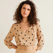 Mango Polka dot cross blouse 波点开襟衬衫