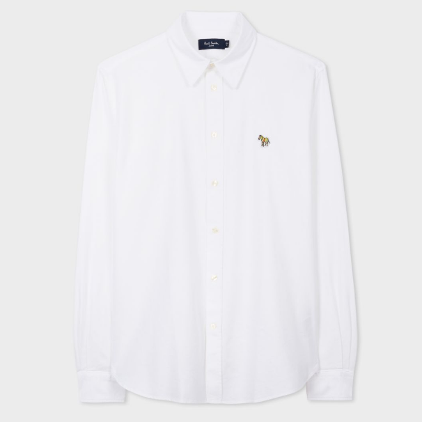 4.5折!Paul Smith White Tailored-Fit Cotton Shirt With Zebra Motif 男士衬衫