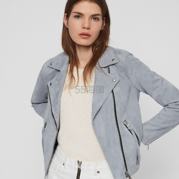 AllSaints Suede Dalby Biker Jacket 麂皮夹克 £166.4(约1,428元) - 海淘优惠海淘折扣|55海淘网