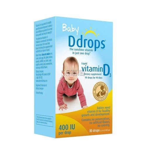 Ddrops 婴儿维生素D3滴剂 400IU 90滴 .74(约91元) - 海淘优惠海淘折扣 55海淘网