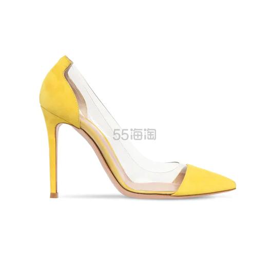 GIANVITO ROSSI 黄色麂皮和 PVC 拼接 高跟鞋 0.5(约3,927元) - 海淘优惠海淘折扣|55海淘网