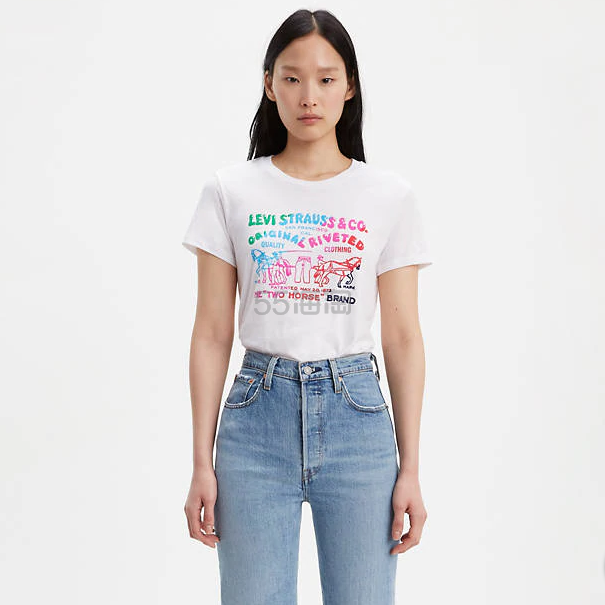 Levis 彩色撞色印花白色T恤 .15(约118元) - 海淘优惠海淘折扣|55海淘网
