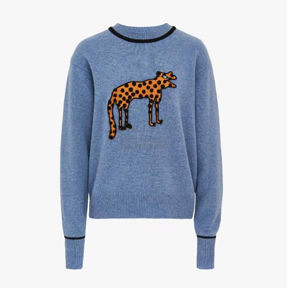 Victoria Victoria Beckham 动物图案蓝色毛衣 港币3,150(约2,822元) - 海淘优惠海淘折扣|55海淘网