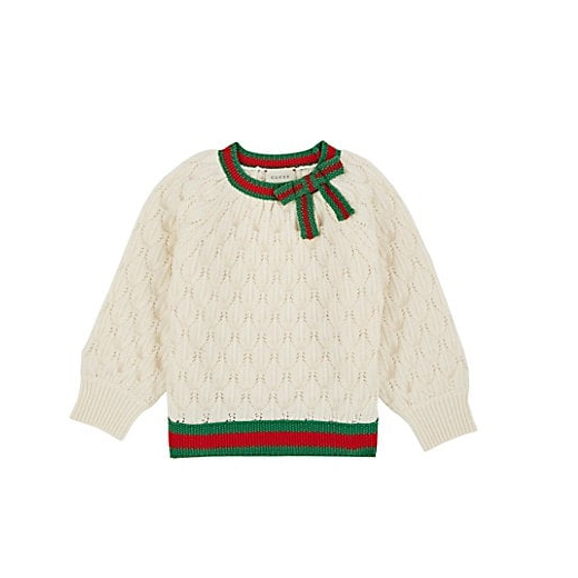Gucci 古驰 Bow-Detailed Textured-Knit 儿童羊毛衣
