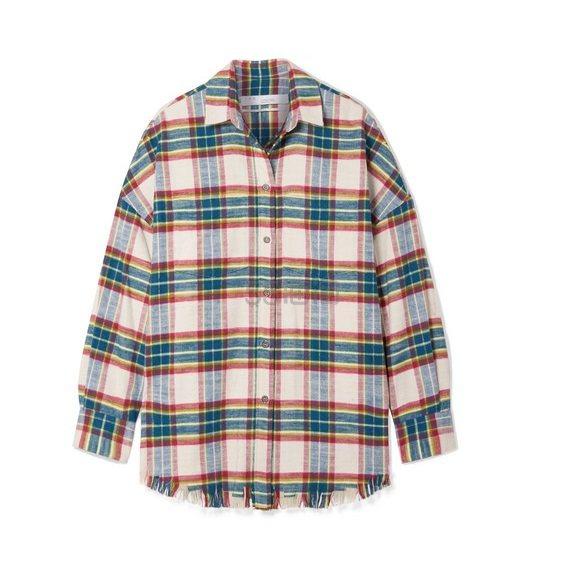 IRO Darkina 大廓形毛边格纹纯棉法兰绒衬衫 5(约3,276元) - 海淘优惠海淘折扣|55海淘网
