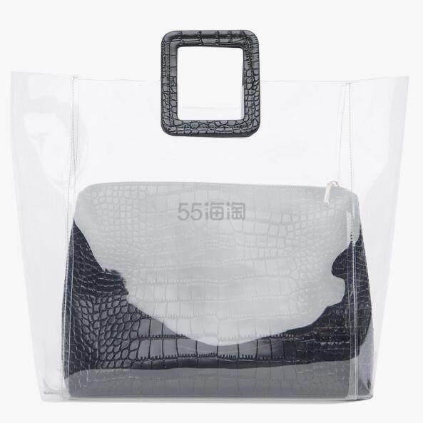 3折!staud SHIRLEY 鳄鱼皮纹透明手提包 PVC 手袋 黑色 .5(约515元) - 海淘优惠海淘折扣|55海淘网