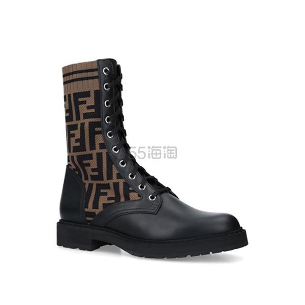 Fendi Leather Logo Biker 老花针织短靴 港币6,177.83(约5,545元) - 海淘优惠海淘折扣 55海淘网