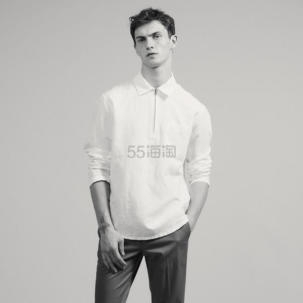 Sandro 男士简洁拉链白衬衫 (约620元) - 海淘优惠海淘折扣|55海淘网