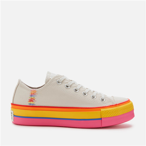 【码全 一双免邮】Converse Chuck Taylor All Star Lift Rainbow 新款女款厚底彩虹帆布鞋
