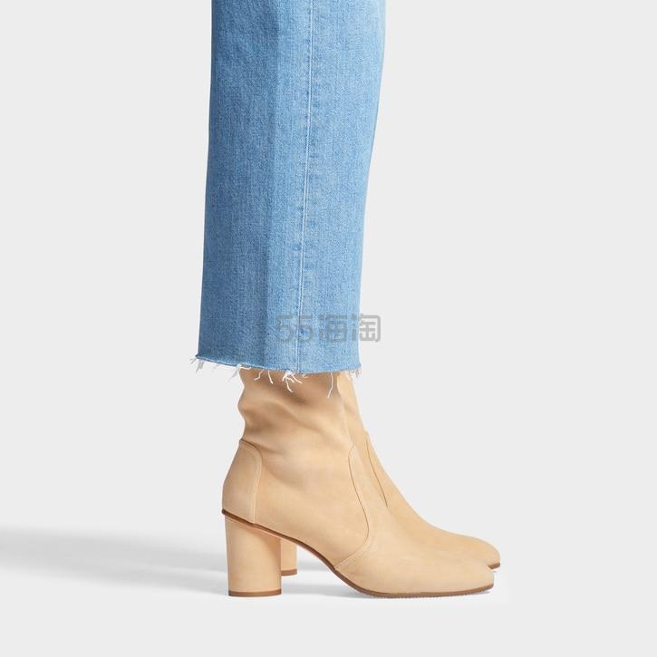 Stuart Weitzman 中跟麂皮裸色短靴 8(约2,059元) - 海淘优惠海淘折扣 55海淘网