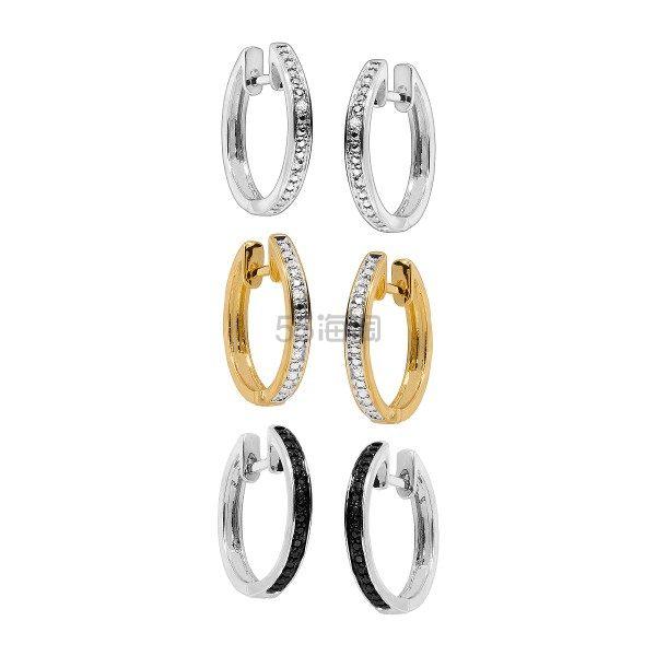 FINECRAFT 三件套三色钻石耳环套装 (约704元) - 海淘优惠海淘折扣|55海淘网