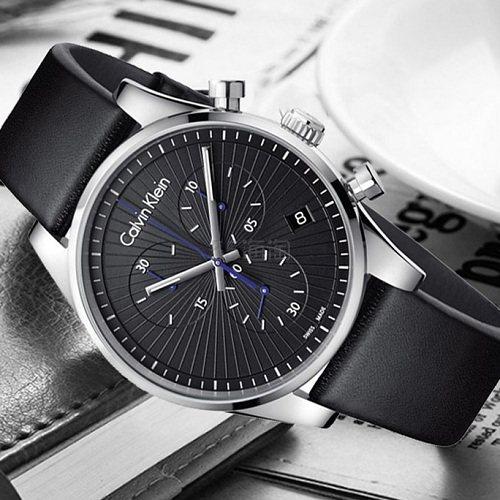Calvin Klein 卡尔文·克莱因 Steadfast 系列 银黑色男士三眼计时腕表 K8S271C1