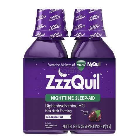 【第2件半价+首件减】ZzzQuil 夜间助眠液盐酸苯海拉明 浆果味 354ml*2瓶