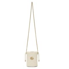 Gucci GG Marmont 白色迷你水桶包
