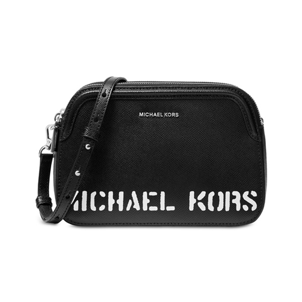 Michael Kors Logo Double 黑白单肩包
