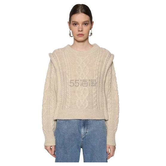 ISABEL MARANT Milane 绞花针织美利奴羊毛短款毛衣 6.25(约6,665元) - 海淘优惠海淘折扣|55海淘网