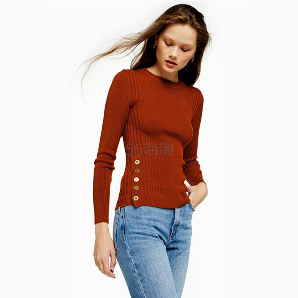 Topshop 紐扣裝飾修身針織衫 £15(約133元) - 海淘優惠海淘折扣|55海淘網