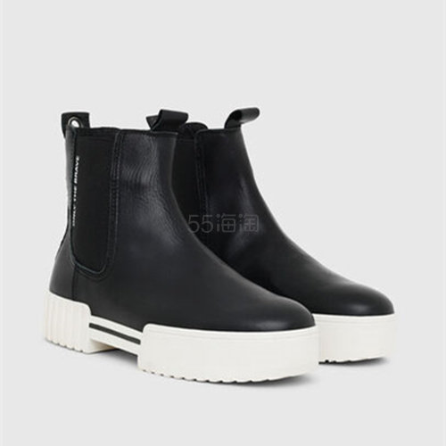 Diesel 平底黑白切尔西短靴