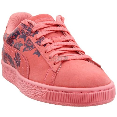 Puma 彪马 Suede 粉橘色花卉刺绣运动鞋 .95(约285元) - 海淘优惠海淘折扣|55海淘网