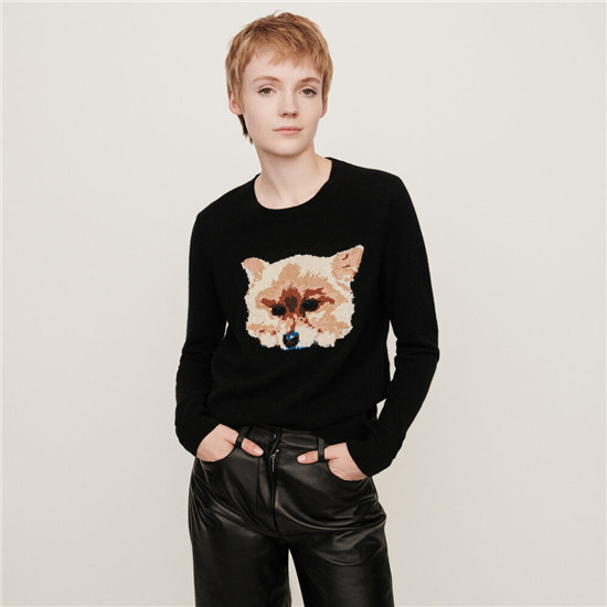 Maje CASHMERE SWEATER WITH DOG HEAD JACQUARD