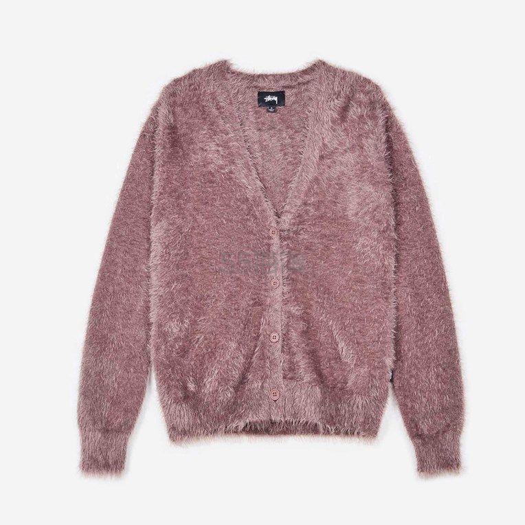 Stussy 紫色毛毛开衫