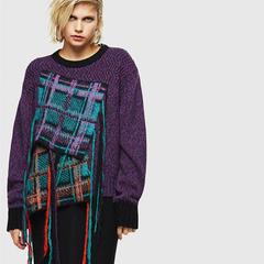 Diesel 羊毛含量格纹不规则拼接毛衣