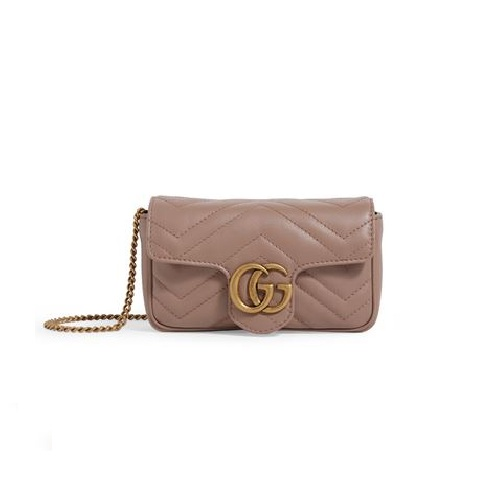 Gucci Super Mini Marmont 藕粉色 双G斜挎包