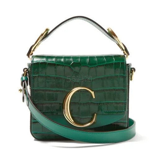 欧阳娜娜同款 CHLOÉ The C mini 鳄鱼皮纹理绿色包包 €1,091(约8,536元) - 海淘优惠海淘折扣|55海淘网