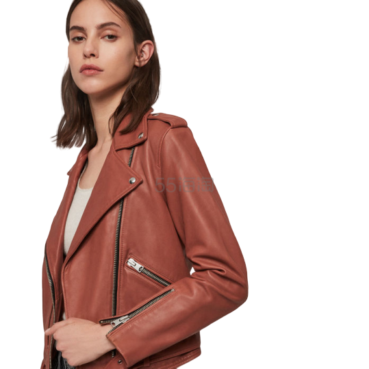 AllSaints Balfren Leather Biker Jacket 皮夹克 £152(约1,360元) - 海淘优惠海淘折扣 55海淘网