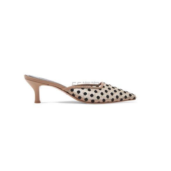 SALONDEJU 圆点提花网布皮革穆勒鞋 £255(约2,325元) - 海淘优惠海淘折扣|55海淘网