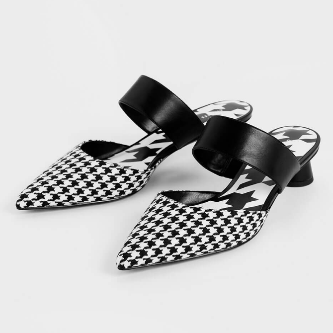 CHARLES & KEITH 小ck HOUNDSTOOTH 千鸟格露跟凉鞋