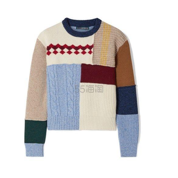 ALEXACHUNG 拼缝羊毛毛衣 £246.5(约2,244元) - 海淘优惠海淘折扣|55海淘网