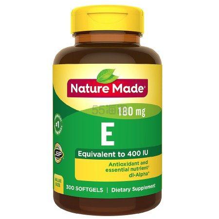 【买1送1+每单减】Nature Made 维生素E膳食补充剂软胶囊 400IU维生素E 300粒
