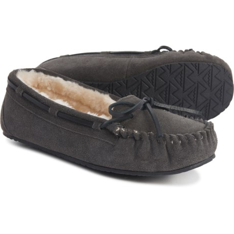 Minnetonka Moccasin 迷你唐卡 Charcoal Allie Junior 女款加绒平底鞋