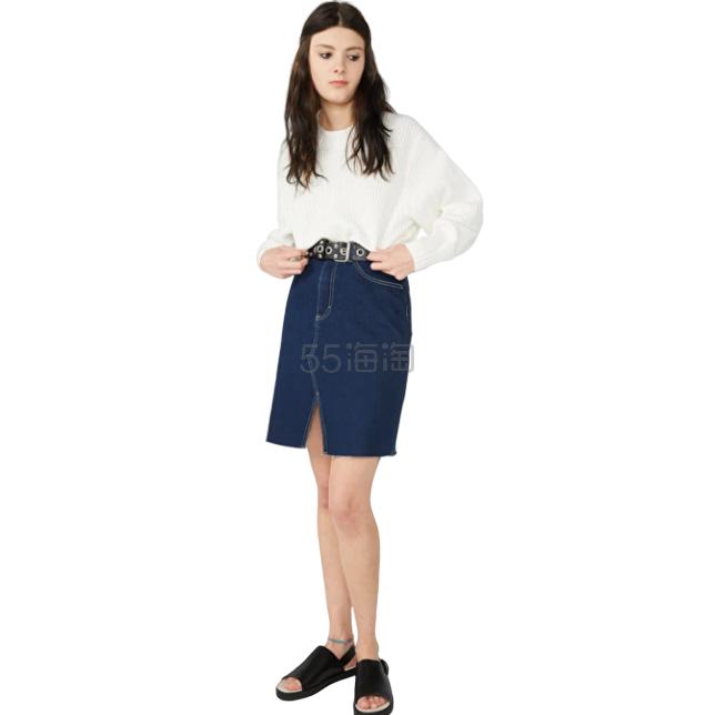 Monki Contrast Stitch 牛仔短裙 £4(约37元) - 海淘优惠海淘折扣 55海淘网
