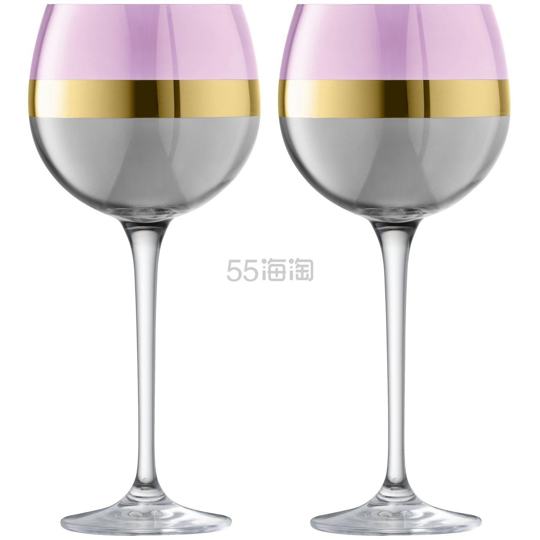 【中亚Prime会员】LSA International Bangle 镀金彩色三拼色玻璃高脚红酒杯 2个