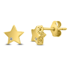 SZUL 14k 黄金星星闪钻耳钉