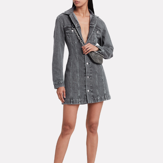 Helmut Lang 炭黑色长袖牛仔连衣裙 9(约2,095元) - 海淘优惠海淘折扣|55海淘网