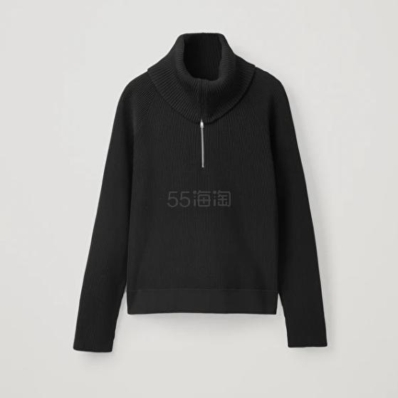 COS 拉链翻领黑色毛衣 (约693元) - 海淘优惠海淘折扣|55海淘网