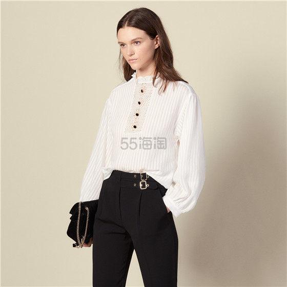 Sandro 宫廷风条纹立领白衬衫 1.5(约1,200元) - 海淘优惠海淘折扣 55海淘网