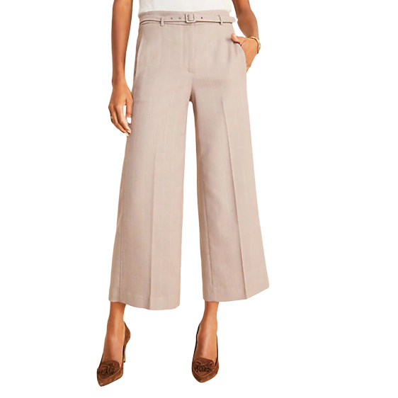 Ann Taylor The Belted Wide Leg Marina 格纹阔腿裤