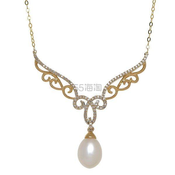 FINECRAFT 淡水珍珠碎钻黄金项链 6.75(约1,933元) - 海淘优惠海淘折扣|55海淘网