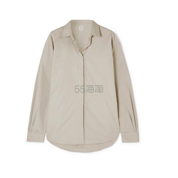 TOTÊME Lago 大廓形纯棉府绸衬衫 £206.7(约1,885元) - 海淘优惠海淘折扣|55海淘网