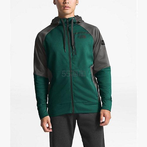 剩S/L码~The North Face 北面 Mack Ease 2.0 男士连帽拉链衫 灰绿拼接色 .99(约284元) - 海淘优惠海淘折扣|55海淘网