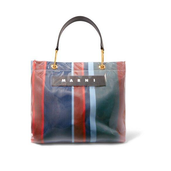 MARNI Grip 皮革边饰条纹帆布 PVC 中号手提包 £429(约3,866元) - 海淘优惠海淘折扣|55海淘网