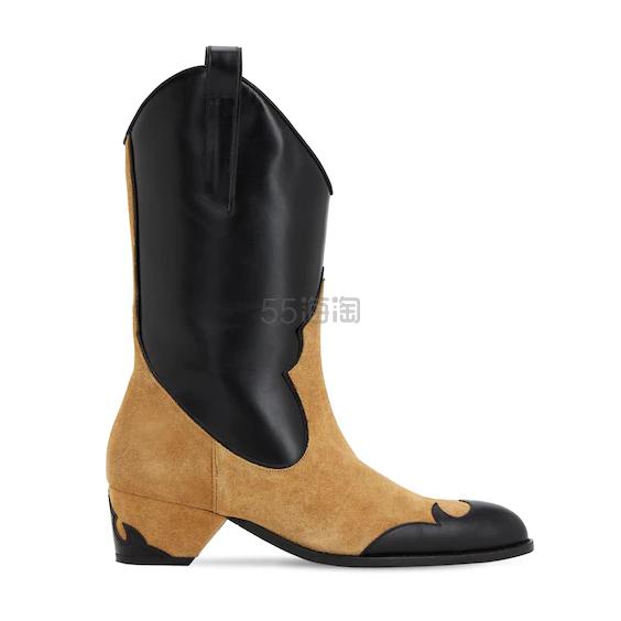 MANU ATELIER 45毫米麂皮&皮革牛仔靴 0(约2,021元) - 海淘优惠海淘折扣 55海淘网