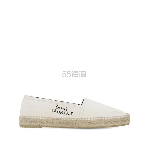 SAINT LAURENT 20毫米刺绣 LOGO 纯棉麻绳便鞋 7.5(约2,539元) - 海淘优惠海淘折扣|55海淘网