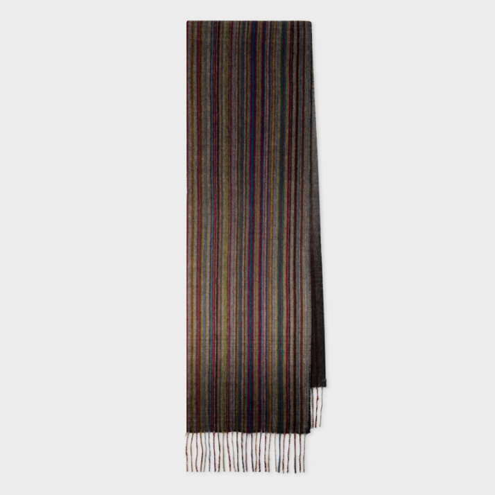 【双11】Paul Smith Signature Stripe 彩色条纹羊绒围巾