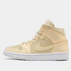 【新款上架】Air Jordan 1 Mid 变色龙 鹅毛黄柠檬 女子篮球鞋